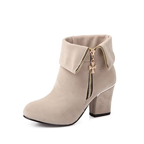 AmoonyFashion Toe Beige Frosted Low High Closed Round Women's Heels Solid Boots top rTOwtrq