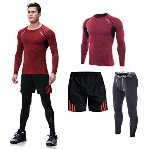 十代趣味ペリスコープスポーツウエア メンズ 上下3点セット タイツ トレーニング 長袖 吸汗速乾