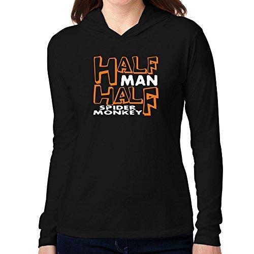 Teeburon HALF MAN , HALF Spider Monkey Women Hooded Long Sleeve T-Shirt