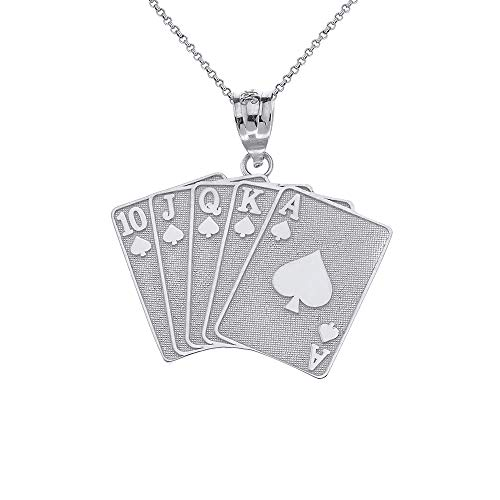 (CaliRoseJewelry Sterling Silver Lucky Royal Flush of Spades Poker Hand Pendant Necklace, 22
