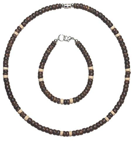 (Native Treasure - 2pc Set Dark Brown Coco with Cream Coco Accents, Surfer Necklace and Bracelet)