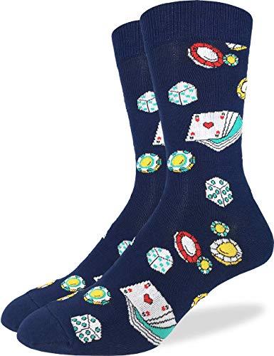 Good Luck Sock Men's Casino Socks - Blue, Adult Shoe Size ()