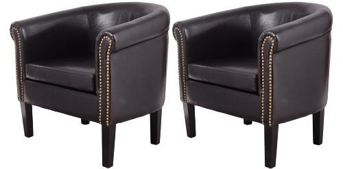HOMCOM Nailhead Faux Leather Tub/Barrel Club Arm Chair - Black - 2 PACK