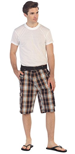 - Gioberti Men's Plaid Belted Cargo Shorts, Brown/Charcoal, Size 30