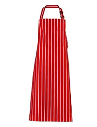 Unisex Striped Restaurant Waiter Chefs Kitchen Bib Apron Adults Fancy Butcher Cooking Backing Apron Red One Size