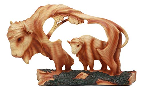 Ebros Faux Wood Rustic Grassland Native American Bison Buffalo In Wildlife Scene Figurine For Office Study Desk Decor Statue For Shelves Cabin Lodge Decoration