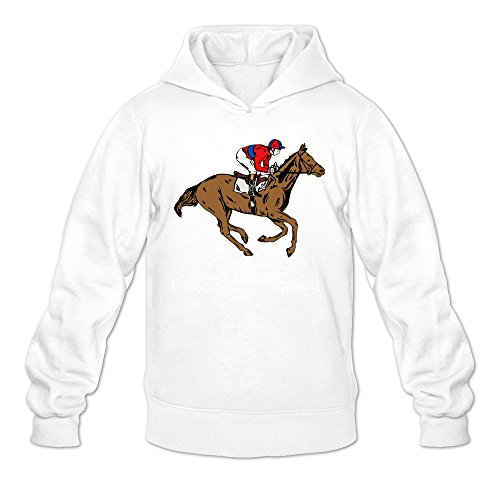Men's High Resolution Horse Racing Clip Art Hoodie White XX-Large