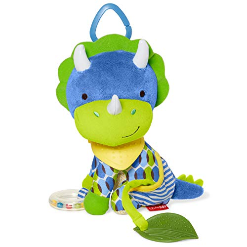Skip Hop Bandana Buddies Baby Activity and Teething Toy with Multi-Sensory Rattle and Textures, Dino