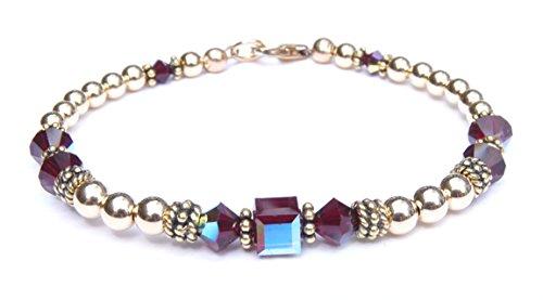 Handmade Swarovski Crystal Beaded Bracelet (DAMALI Gold Filled Red Garnet Birthstone Beaded Bracelet w/ Swarovski Crystals)