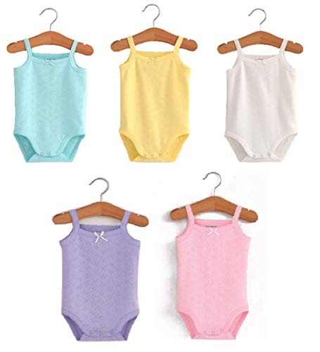 (Aceabby Baby Girls Sleeveless Onesies Tank Top Cotton Baby Bodysuit Pack of Baby Summer Colorful Clothes Outfit)