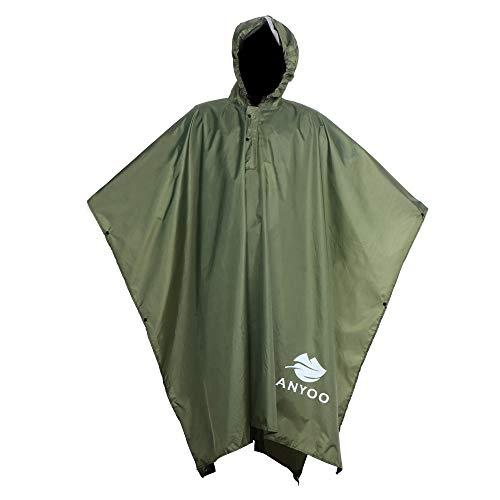 Anyoo Lightweight Waterproof Rain Poncho ReusaAnyoo Waterproof Rain Poncho Lightweight Reusable Hiking Rain Coat Jacket with Hood for Boys Men Women Adults
