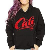 CaliDesign Women's Red California Hoodie Cali Bear Script Sweatshirt Pullover
