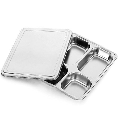 Serving Tray Kit (MyLifeUNIT 4 Compartment Bento Lunch Box - Divided Food Serving Tray with Lid)