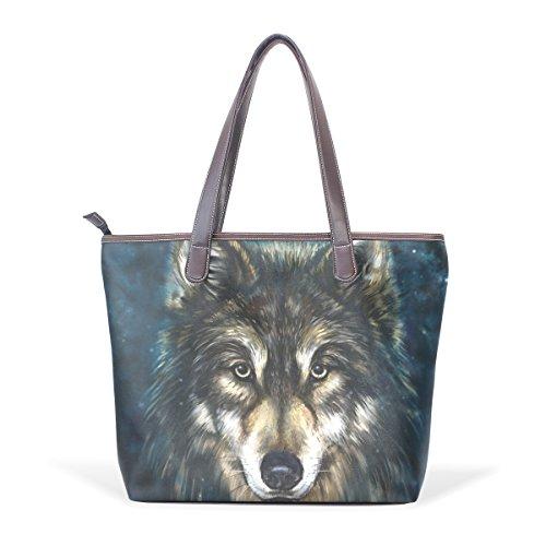 COOSUN Womens Wolf Kunst Malerei Pu Leder große Einkaufstasche Griff Umhängetasche