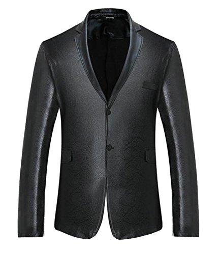 X-Future Men's Pockets Long Sleeve Buttons Metallic Lapel Club Blazer Jackets Black L (Club Country Blazer)