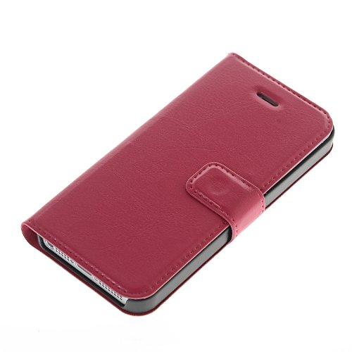 MOONCASE Etui Housse Cuir Portefeuille Case Cover Pour Apple iPhone 5 / 5S Rose