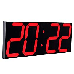 Goetland 16 3/4 Jumbo Wall Clock LED Digital Multi Functional Remote Control Countdown Timer Temperaturer, Red Digital on Black Background