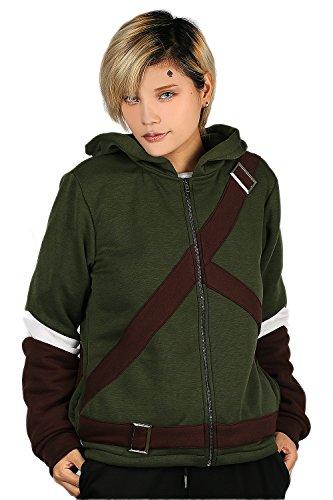 Link Cosplay Costume Design (Link Hoodie Deluxe Olive Green Polyester Sweatshirt CL Legend Cosplay M)