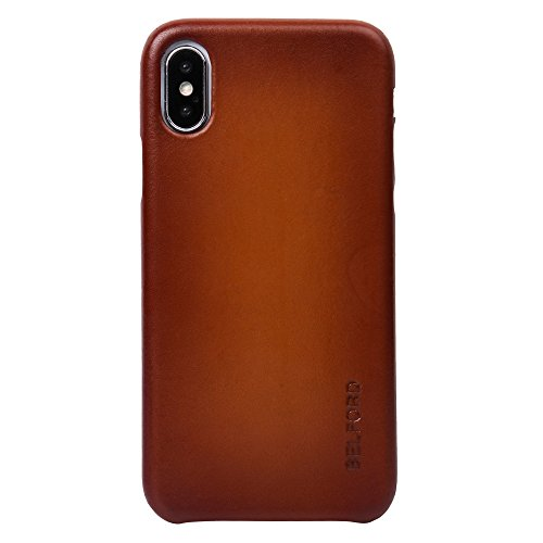 iPhone X Case, Premium Genuine Italian Cow Leather with New Slim Design Hard Case Cover Fit for Apple iPhone X (DUAL TONE) - BELFORD - Original Premium Leather Case