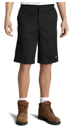 Dickies Occupational Workwear LR303BK 38 Polyester/ Cotton Relaxed Fit Men's Industrial Flat Front Short with Button Closure, 38