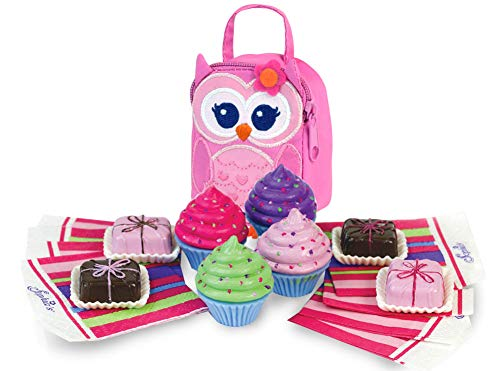 (Sophia's Owl Lunch Bag with Cupcakes, Petit Fours, and Napkins Sized for 18 Inch Dolls | Doll Sized Desserts and Lunch Bag)