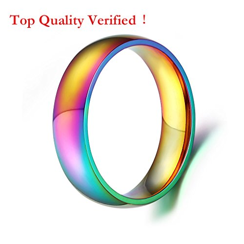 Rainbow Wedding Bands Classic 6MM Stainless Steel Colorful Promise Band Rings High Polished Finish Comfort Fit Size 6-12 - Classic Comfort Rainbow