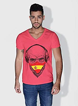 Creo Spain Skull T-Shirts For Men - L, Pink