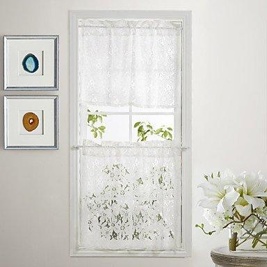 """Country Elegant Floral White Lace Tier Kitchen Curtain Set - 2 pcs, 54 ¡Á 26""""L"""