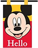 """Woods International 4266 Disney Mickey Mouse """"Hello"""" Garden Flag with Pole, 12 by 18-Inch"""