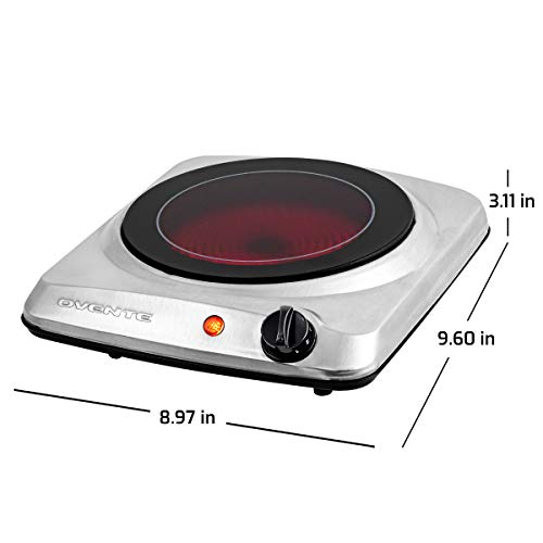 Ovente 1000W Single Hot Plate Electric Countertop Infrared Stove 7 Inch with 5 Level Temperature Control & Stainless Steel Base, Easy Clean Portable Cooktop Burner for Cooking Camping, Silver BGI101S
