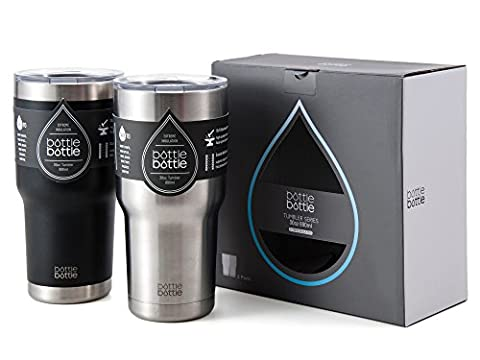 Bottlebottle Insulated Tumbler 2 Pack - Two 30 oz Vacuum Insulated Coffee Travel Mug Double Walled Travel Cup, Night Black & - Silver Travel Tumbler