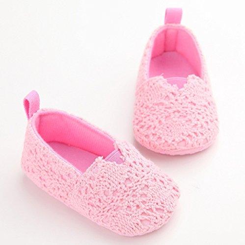 Por 0-18 Mes Auxma Zapatos de bebé Zapatos de cuna suave Sole zapatos de otoño de verano recién nacidos Rosado