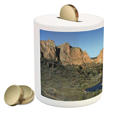 Cheap  Lunarable Oregon Piggy Bank, Crooked River beneath the Cliffs of Smith Rock..
