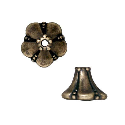Generic Brass Oxide Finish Pewter Bell Flower Bead Caps 11.5mm by Generic