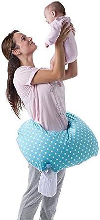 Nuvita 5300 FeedFriend - Cojín de lactancia – Almohada Lactancia Multifunción para Bebé - Rellena de Microperlas - Antialérgica – Libre de BPA/Ftalatos - Marca Europea - Fabricado en Italia (Big Dots)