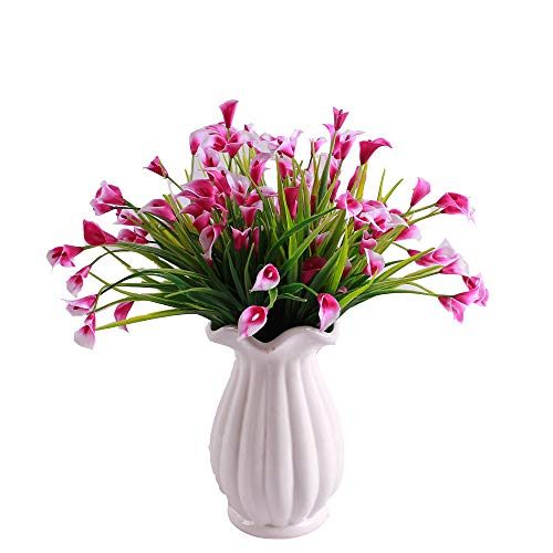 KIRIFLY Artificial Flowers,Artificial Plants Outdoor 6 Packs Plastic Flowers Fake Calla Lily Faux Plant UV Resistant Greenery for Garden Home Decor (Rose) (Best Place To Plant Calla Lilies)