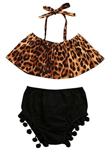 Newborn Baby Girls Halter Leopard Tops Bikini With Pompon Bottom Sunsuit (80) (Infant Girl Halter Top)