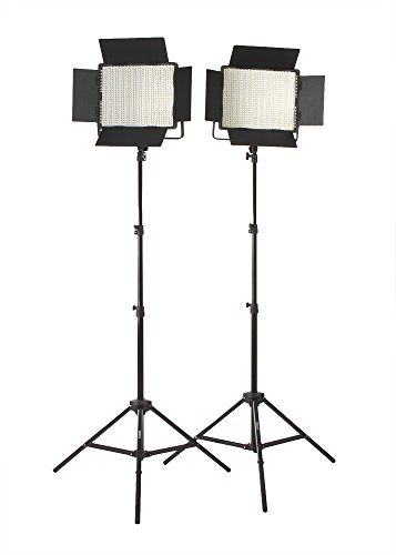 Fovitec  StudioPRO - 2x Daylight 1200 LED Panel Bundle w/ Barndoors & Stands - [Continuous][Adjustable Lighting][V-Lock Compatible]