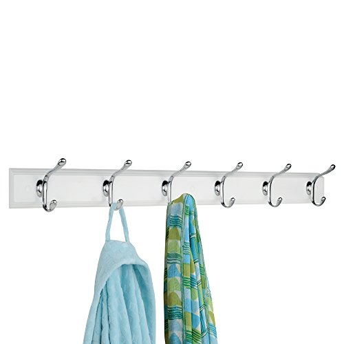 mDesign Wall Mount Entryway Storage Rack for Jackets, Coats, Hats, Scarves - 12 Hooks, White