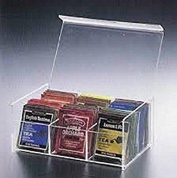 Home-X Compact Acrylic Tea Bag Box. 6 Sections