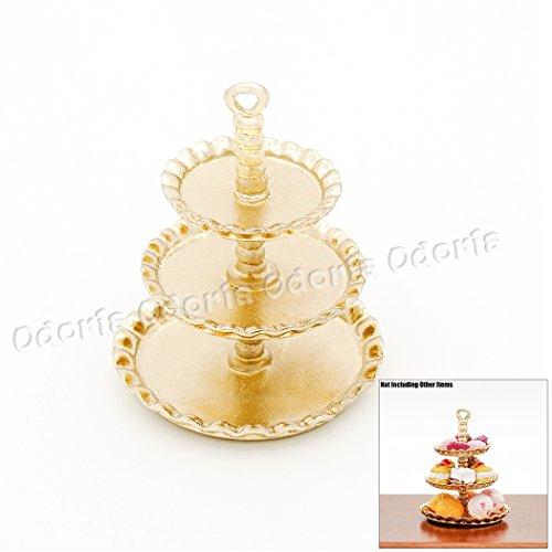 Odoria 1:12 Miniature 3-Tier Golden Cupcake Stand Dessert Centerpiece Dollhouse Kitchen Accessories