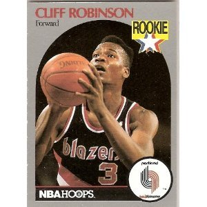 CLIFF ROBINSON ROOKIE, NBA HOOPS, 1990 PORTLAND TRAILBLAZERS by Hoops