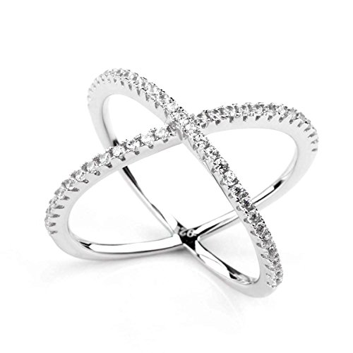 SOMEN TUNGSTEN 925 Sterling Silver Criss Cross Rings CZ Eternity Engagement Wedding Band (8) (Sterling Ring Silver Cross)