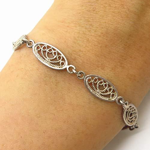VTG 925 Sterling Silver Filgree Design Link Bracelet 7