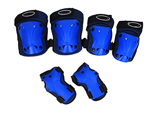 Skating 6 Pcs/Set Kid's Protective Gear Set with Elbow Knee Wrist Pad for Roller Skating Skateboard BMX Scooter Cycling (Blue) for Protection by Wetietir