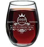 1959 60th Birthday Gifts for Women and Men Wine Glass - Funny Vintage Aged To Perfection - Anniversary Gift Ideas for Mom Dad Husband Wife – 60 Year Old Party Supplies Decorations for Him, Her - 15oz