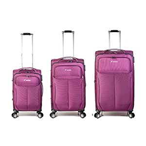 Set of 3 Trolley Bag with 4 wheel system - Purple - Model: 8827