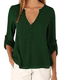 Women's Long Sleeve Back Button-down V Neck Irregular Chiffon Blouse Top Plus Size