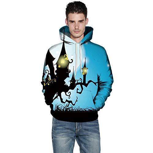 POTO Halloween Hoodie Sweatshirt,Men Women 3D Printed Drawstring Pocket Sweatshirt Jumper Hooded Pullover Tops Blouse -