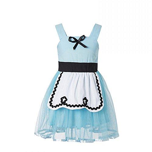 Ruikajia Little Girls Princess Rapunzel Alice in Wonderland Ariel Snow White Dress Costume Dress up (Blue, 4T)